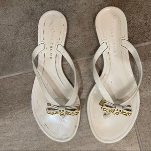 Plastic White and Gold Sandals